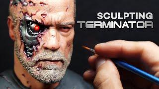 Download Sculpting Realistic Battle Damaged Terminator(T-800) Sculpture Timelapse - Dark fate Movie Video