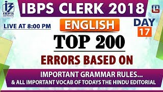 Download Top 200 Errors | Day 17 | IBPS Clerk 2018 | English | Live at 8:00 pm Video