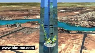 Download Construction Simulation Crane Kingdom Tower Jeddah Video