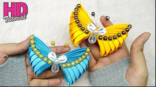 Download DIY - How to make butterfly with satin ribbon || Kanzashi || bros kupu-kupu Video