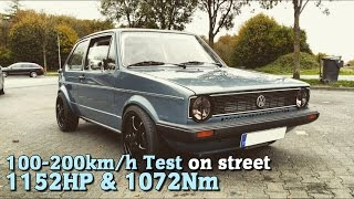 Download VW Golf MK1 4Motion 1152HP 100-200 test on street 2015 Video