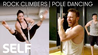 Download Rock Climbers Try to Keep Up With a Pole Dancer | SELF Video
