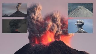 Download Colima Volcano - Daytime and Nighttime eruptions, overflight of crater Video