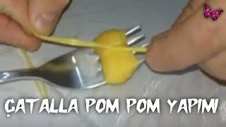 Download Çatalla pon pon yapımı / How to make pom poms ( DIY ) Video