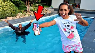 Download MY DAD'S iPhone X IN OUR SWIMMING POOL PRANK!! Video