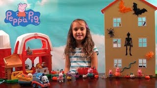 Download Peppa Pig: Peppa Pig Halloween House Decorating and Pumpkin Farm Story with Thomas the Train Toys Video