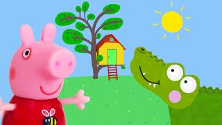 Download Peppa Pig Game | Crocodile Hiding in Peppa Pig Toy Treehouse | Peppa Pig Tree House Playset Video