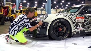 Download 2013 PORSCHE 911 GT3 ONE OF A KIND HAND PAINTED ART RACE CAR. DUB SHOW MIAMI 2014 Video