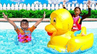 Download Wendy Pretend Play with Giant Inflatable Duck Swimming Pool Toys Video