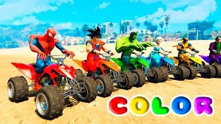 Download FUN LEARN COLORS ATV and JETSKI w/ SUPERHEROES for Children Nursery Rhymes Video