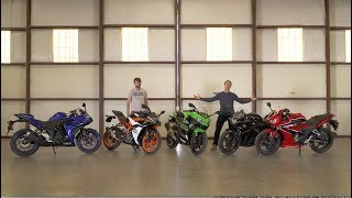 Download Honda CBR300R vs Kawasaki Ninja 400 vs KTM RC390 vs Suzuki GSX250R vs Yamaha YZF-R3 - On Two Wheels Video