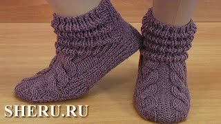 Download Любимые носочки с драпировкой на двух спицах. Video