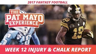 Download 2017 Fantasy Football - Week 12 NFL Injury Report & DraftKings Milly Maker Chalk Picks and Pivots Video