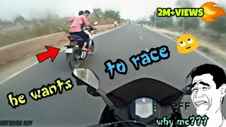 Download Did he ask for a race ? KTMRC200 Vs Gixxer 150   Funny Race Video