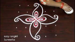 Download Simple n easy routine muggulu with 5 dots peacock designs new rangoli kolam art designs Video