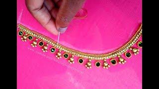 Download #7 మామూలు సూది తో ఎంబ్రాయిడరీ అందమైన బ్రైడల్ బ్లౌజ్    Aari Maggam Work Blouse Design Video