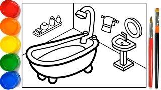 Download Glitter Bathroom drawing and coloring Pages For Kids | Kamar Mandi Halaman Mewarnai Video