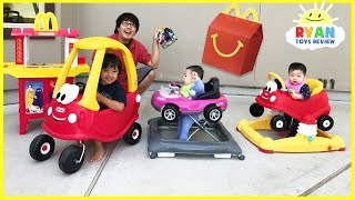 Download McDonald's Drive Thru Prank Bad Daddy! Babies Kids Ride On Car + McDonald's Indoor Playground Video