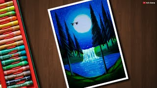 Download Moonlight Waterfall scenery drawing for beginners with Oil Pastels - step by step Video