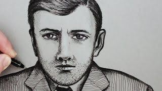 Download How to Draw a Face of a Man: Pen Portrait Video
