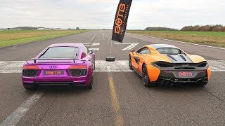 Download DRAG RACE! AUDI R8 V10 PLUS VS MCLAREN 570S! Video