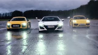 Download Honda NSX vs Audi R8 V10 vs Porsche 911 Turbo - Chris Harris Drives - Top Gear Video