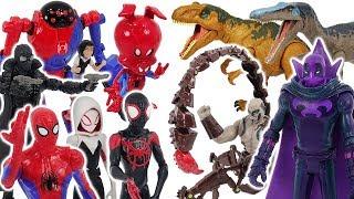 Download Spider-Man Into The Spider-Verse Miles Morales, Gwen VS Prowler, Scorpion, dinosaur! #DuDuPopTOY Video