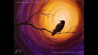 Download Midnight Raven Acrylic Step by Step Painting on Canvas for Beginners Video