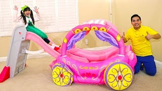 Download Emma Learn Colors Pretend Play with Pink Kids Slide and Princess Carriage Inflatable Toy Video