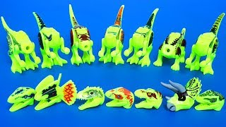 Download Learn Dinosaur names with Jurassic world lego dinosaur's head toy 쥬라기월드 공룡 블럭 Video