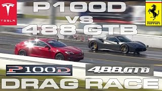 Download Tesla Model S P100D Ludicrous vs Ferrari 488 GTB Spider 1/4 Mile Drag Race Video