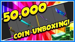 Download 50,000 COIN HUGE EXOTIC UNBOXING IN ROBLOX ASSASSIN!! | CAN WE GET THE NEW MYTHIC KNIFE!? Video