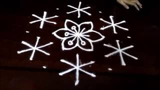Download Simple awesome flowers kolam designs with 9-5 middle | chukkala muggulu with dots| rangoli design Video