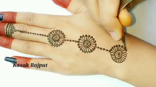 Download Simple mehndi design for back hand side | How to apply simple mehndi design Video