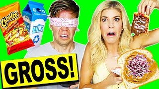 Download TRYING WEIRD FOOD COMBINATIONS BLINDFOLDED CHALLENGE! (EATING FUNKY & GROSS DIY FOODS) Video