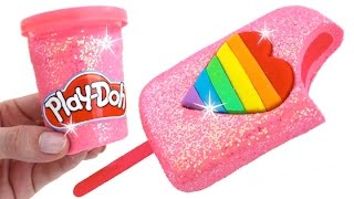 Download DIY How to Make Play Doh Sparkle Heart Popsicle Modelling Clay Learn Colors RainbowLearning Video