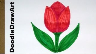 Download Drawing: How To Draw Cartoon Tulip Flower - Easy Drawing Lesson for Kids Video