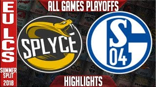 Download SPY vs S04 Highlights ALL GAMES | EU LCS Playoffs Quarter-Final Summer 2018 | Splyce v FC Schalke 04 Video