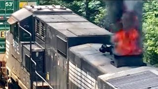 Download Train On Fire! Completely Shuts Down NS Pittsburgh Line! Video