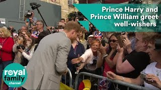 Download Prince Harry and Prince William greet well-wishers on streets of Windsor ahead of Royal Wedding Video
