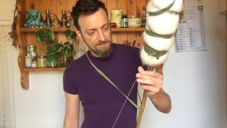 Download Spinning wool with a distaff and a bottom whorl italian spindle Video