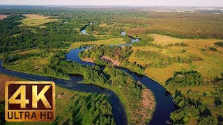 Download 30 min - 4K Drone Aerial Footage - Relax Video with Soothing Music - Charming Ukrainian Rivers Video