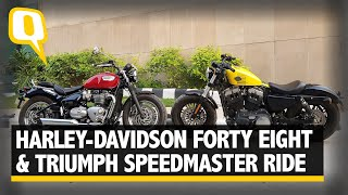 Download Triumph Bonneville Speedmaster and Harley-Davidson Forty Eight Face Off Video