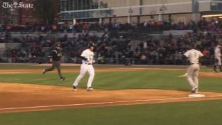 Download Tim Tebow hits a home run in first at bat with minor league baseball team fireflies Video