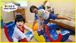 Download Obstacle Course Pretend Play with Ryan, Emma , and Kate!!! Video