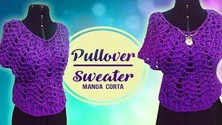 Download PULLOVER / SWEATER MANGA CORTA PARA GORDITAS A CROCHET   Canela♥ Video