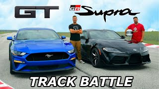 Download 2020 Toyota Supra vs Mustang GT - TRACK REVIEW // DRAG RACE & LAP TIMES Video