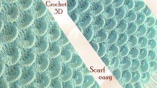 Download Bufanda a Crochet en punto 3D plumas pavo real o media luna tejido tallermanualperu Video