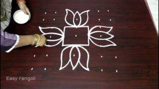 Download lotus flower muggulu designs with 7x7 dots || flower kolam designs || easy rangoli art designs Video