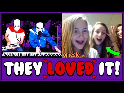 Piano Duet AMAZES Omegle with Undertale Music!!